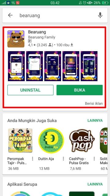 Game Bearuang game ringan android dapat menghasilkan uang hingga 10 juta